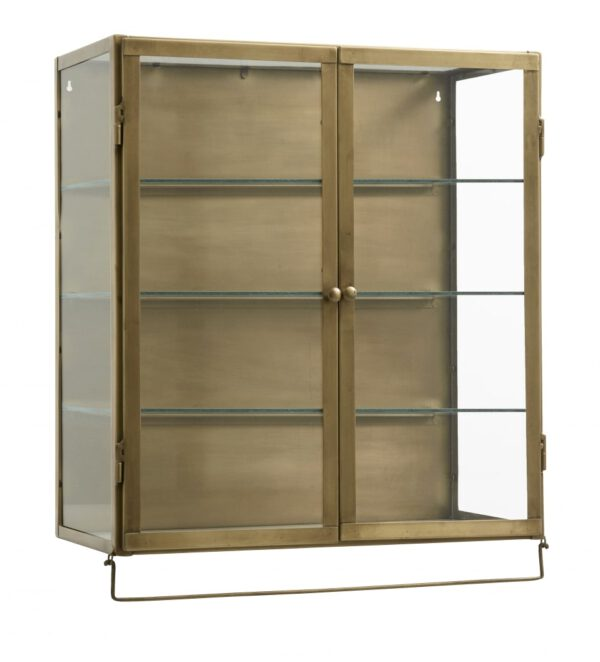 Nordal Wall Cabinet, 2-ovea, Messinki/Kirkas lasi, Lasihyllyt
