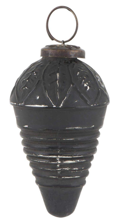 Ib Laursen, Käpy joulukoriste, Musta/hopea, 8cm