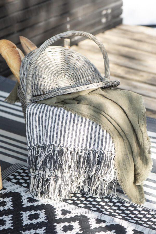 Ib Laursen, Throw-torkkupeite, 130x160, Luonnonvalkoinen/Musta, Raidallinen