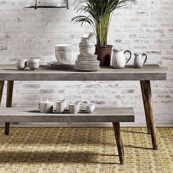 Nordal, Concrete- Ruokapöytä, Puu, Mikrobetoni